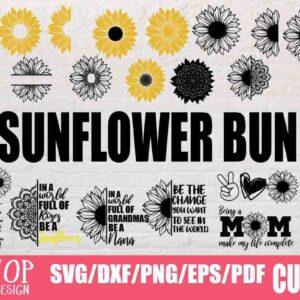 33 Sunflower Designs Bundle, Sunflower Humming Bird, Sunflower Monogram