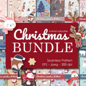 Animal Adorable Christmas Bundle, Christmas Snowman Seamless, Christmas Cute Snowman Seamless Pattern,