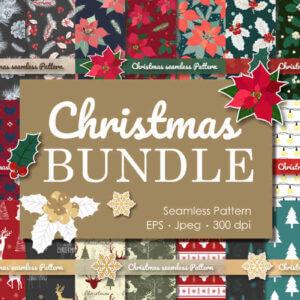 Christmas Collection Seamless Bundle, Christmas Reindeer Seamless, Christmas Silhouette