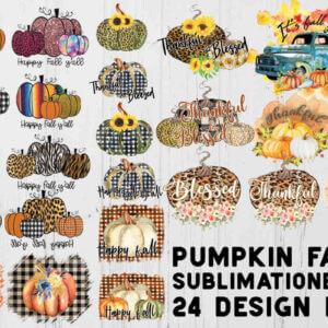Fall Pumpkin Sublimation Clipart Bundle For Halloween, Sublimation Pumpkin, Sublimation Happy Fall