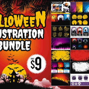 Halloween Illustration Bundle, Halloween Best Craft Sublimation, Halloween Crafting for POD