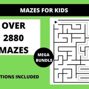 2880+ Mazes for Kids Ultimate Bundle, Very Easy Mazes, Easy Mazes, Color Unicorn Shape Mazes
